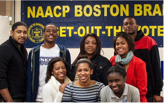 An afternoon of college prep ends with students standing tall with their Boston NAACP mentors.