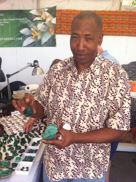 """Max Mpoyi, owner of Malachite & Gems of Africa, Inc."""" in Greece, NY."""