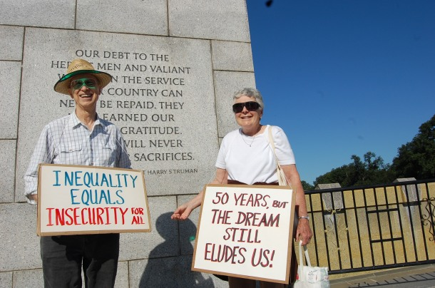 Husband and wife John and Marion Lathrop found it necessary to be at the 50th anniversary of the March on Washington after being at the original.