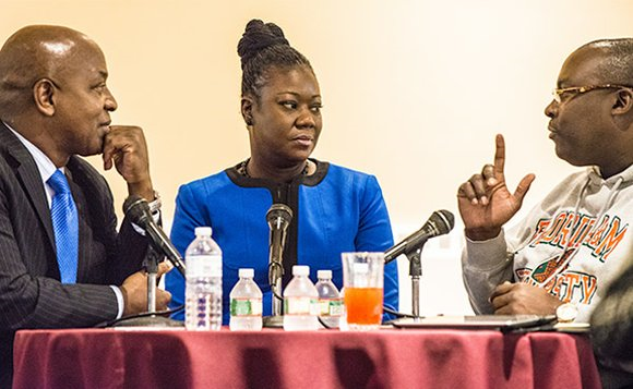 Harvard Law School Professor Charles Ogletree, Trayvon Martin's mother Sybrina Fulton and Martin family attorney Daryl D. Parks spoke at a forum on Martin's case at the in Cambridge.